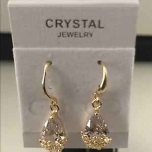 Silver & Gold Wedding Crystal Zircon Earrings